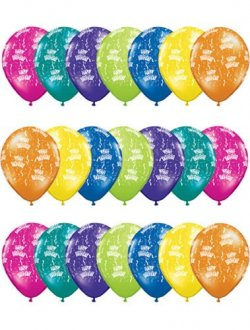 "11"" Birthday A Round Fantasy Assorted Latex Balloons 50pk"