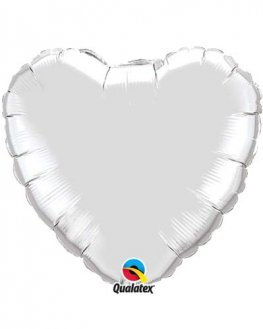 "36"" Silver Heart Heart Balloon"