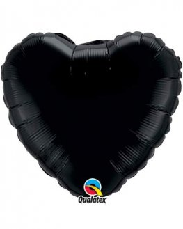 "18"" Onyx Black Heart Foil Balloon"