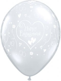 "11"" Engagement Hearts Diamond Clear 50pk"