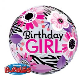 "22"" Birthday Girl Floral Zebra Stripes Single Bubble Balloons"