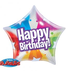 "22"" Birthday Stars And Dot Pattern Single Bubble Balloons"
