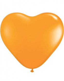 "6"" Orange Heart Latex Balloons 100pk"