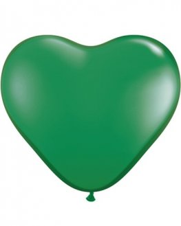 "6"" Green Heart Latex Balloons 100pk"