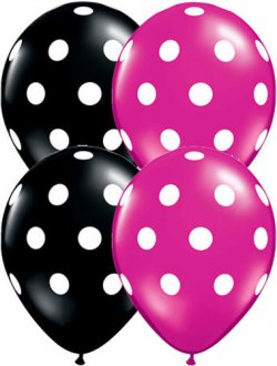 "11"" Big Polka Dots Onyx Black And Magenta 25pk"