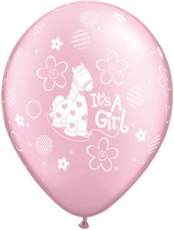 "11"" Its A Girl Soft Pony Latex Balloons 25pk"