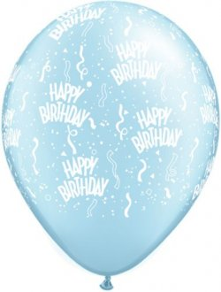 "11"" Birthday A Round Pearl Light Blue Latex Balloons 25pk"