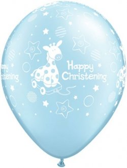 "11"" Soft Giraffe Blue Christening Latex Balloons 25pk"