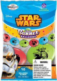 "12"" Star Wars Quick Link Party Banner Balloons 10pk"