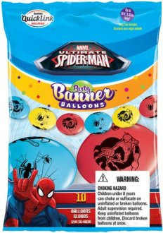 "12"" Spider-Man Quick Link Party Banner Balloons 10pk"