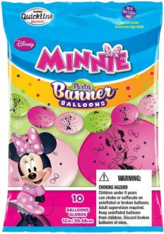 "12"" Minnie Mouse Quick Link Party Banner Balloons 10pk"