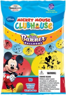 "12"" Mickey Mouse Quick Link Party Banner Balloons 10pk"