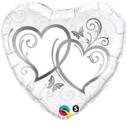"18"" Entwined Hearts Silver Foil Balloons"