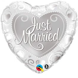 "18"" Just Married Silver Hearts Foil Balloons"