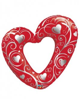 Hearts And Filigree Red Supershape Balloons