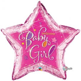 "36"" Welcome Baby Girl Stars Foil Balloons"