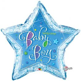 "36"" Welcome Baby Boy Stars Foil Balloons"