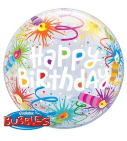 "22"" Birthday Lit Candles Single Bubble Balloons"