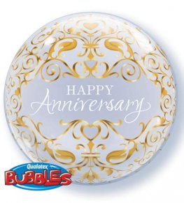 "22"" Anniversary Classic Single Bubble Balloons"