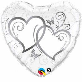 "36"" Entwined Hearts Silver Foil Balloons"