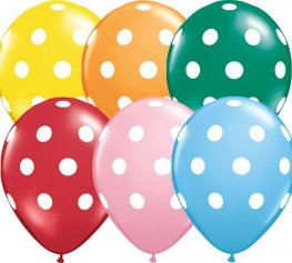 "11"" Big Polka Dots Standard Assorted Latex Balloons 50pk"