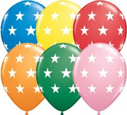 "11"" Big Stars Assorted Latex Balloons 50pk"