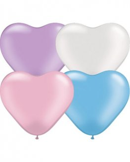 "6"" Pearl Assorted Heart Latex Balloons 100pk"