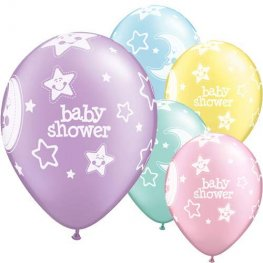 "11"" Baby Shower Moons And Stars 6pk"