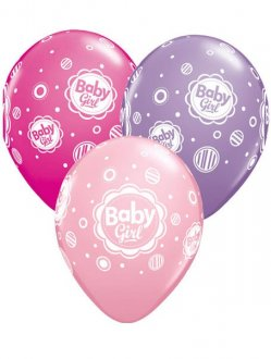 "11"" Baby Girl Dots Latex Balloons 6pk"