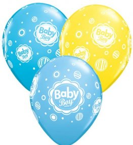 "11"" Baby Boy Dots Latex Balloons 6pk"