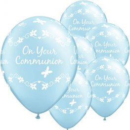 "11"" Communion Boy Latex Balloons 6pk"