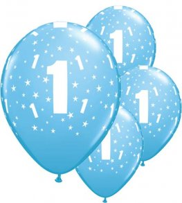 "11"" Age 1 Pale Blue Latex Balloons 6pk"
