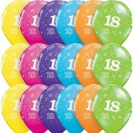 "11"" Age 18 Tropical Assorted Latex Balloons 6pk"