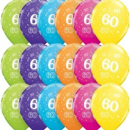"11"" Age 60 Tropical Assorted Latex Balloons 6pk"