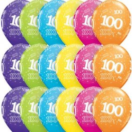 "11"" Age 100 Tropical Assorted Latex Balloons 6pk"