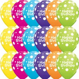 "11"" Happy Birthday Big Polka Dots 6pk"