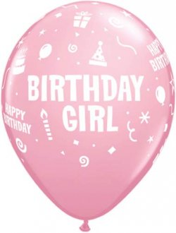 "11"" Birthday Girl Latex Balloons 6pk"