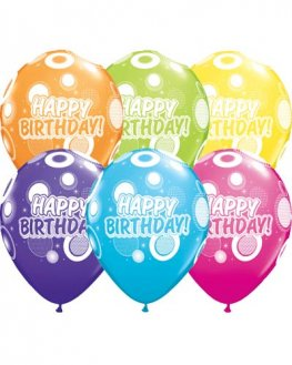 "11"" Birthday Dots And Glitz Latex Balloons 6pk"