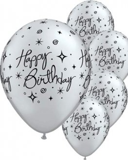 "11"" Birthday Elegant Sparkles And Swirls Latex Balloons 6pk"