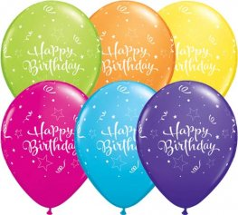 "11"" Happy Birthday Shining Star Latex Balloons 6pk"