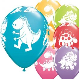 "11"" Cute & Cuddly Dinosaurs Latex Balloons 6pk"