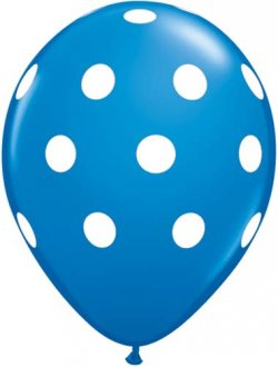 "11"" Dark Blue Big Polka Dots Latex Balloons 6pk"