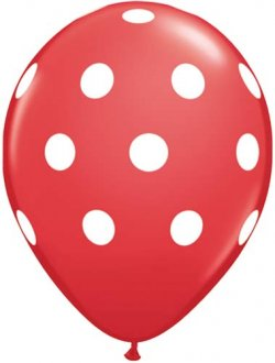 "11"" Red Big Polka Dots Latex Balloons 6pk"