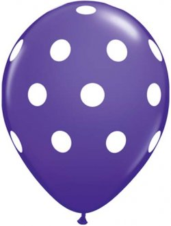 "11"" Purple Violet Big Polka Dots Latex Balloons 6pk"