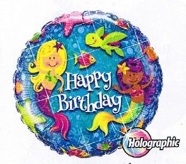 "18"" Happy Birthday Mermaid Holographic Foil Balloons"