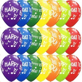 "11"" Happy Birthday To You Music Notes Latex Balloons 25pk"