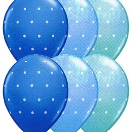 "11"" Small Polka Dots Blue Assorted Latex Balloons 25pk"