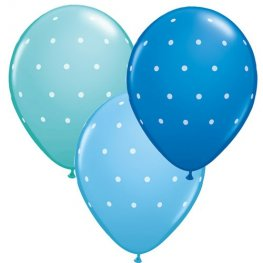 "11"" Small Blue Polka Dots Latex Balloons 6pk"