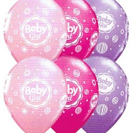 "11"" Baby Girl Dots Latex Balloons 25pk"