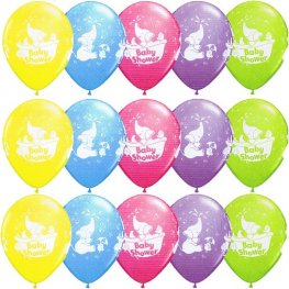 "11"" Baby Shower Elephant Latex Balloons 25pk"